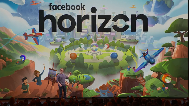 Mark Zuckerberg reveals <em>Facebook Horizon</em> at Oculus Connect 6 in San Jose, California.