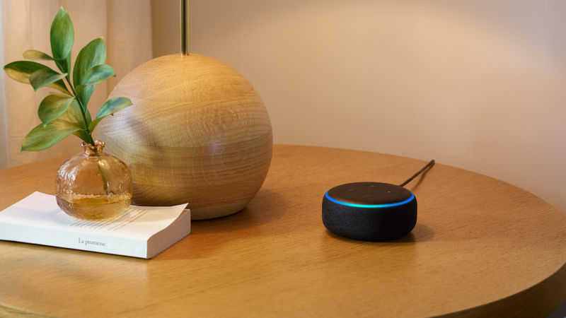 An Amazon Echo device.