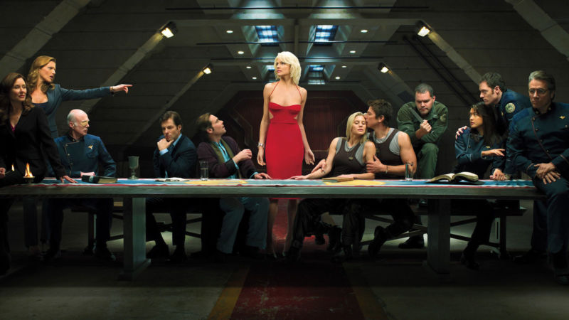 "The Battlestar Galactica cast as ""The Last Supper"" from 2007."