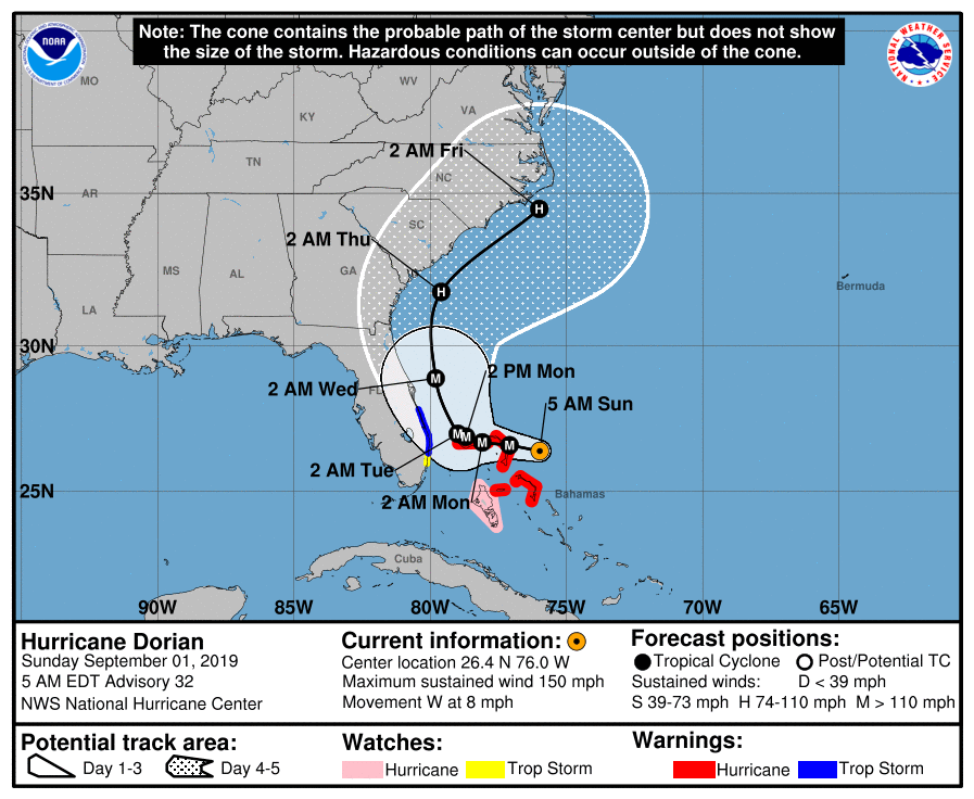 "Official National Hurricane Center forecast for Dorian on Sunday morning, at the time of President Trump's ""Alabama"" tweet."
