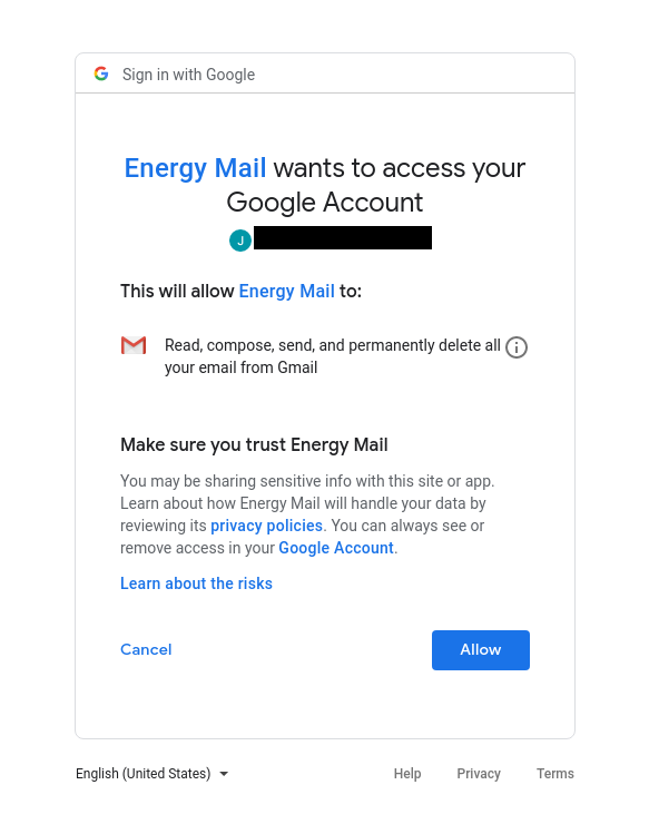 "Authorization screen for ""Energy Mail,"" an OAuth-based app that, if approved, could bypass 2FA protections."