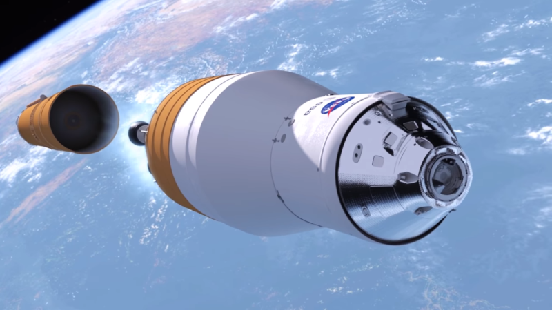 NASA conceptional artwork for the Exploration Upper Stage carrying the Orion spacecraft.