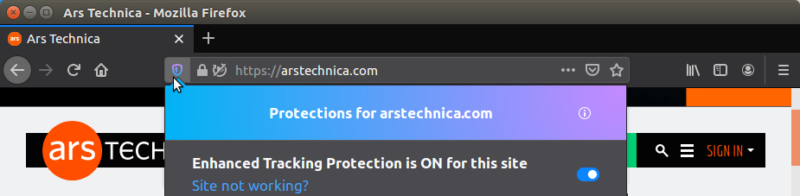 The bold color choices in the blocking dialog on Firefox 70 Beta make it clear that Mozilla wants users to really <em>look</em> at it.