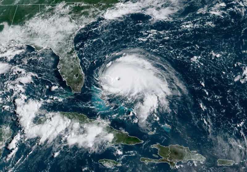 Hurricane Dorian's satellite appearance on a Sunday morning in 2019.