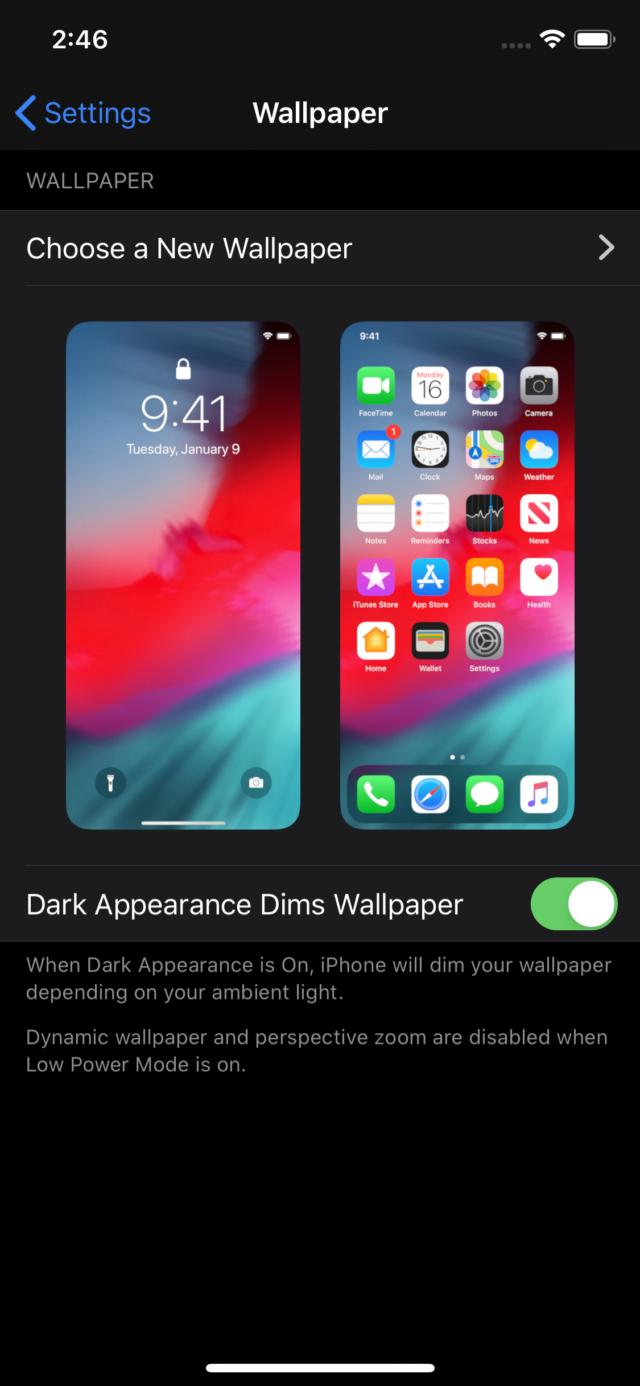 iOS 13 Dark Mode wallpaper settings