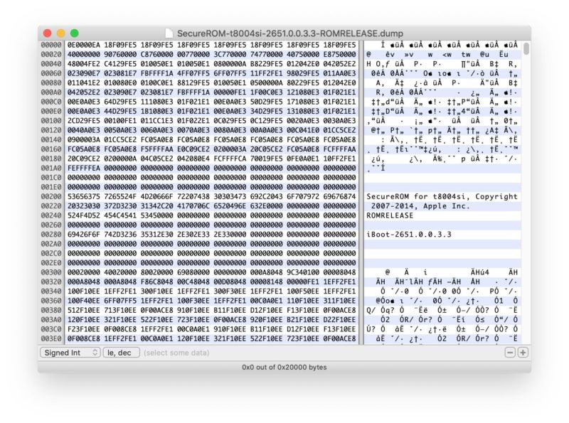 Bootrom of Apple Watch Series 3 as shown by hex viewer. Yes, Apple Watches Series 1, 2 and 3 are also vulnerable to Checkm8.