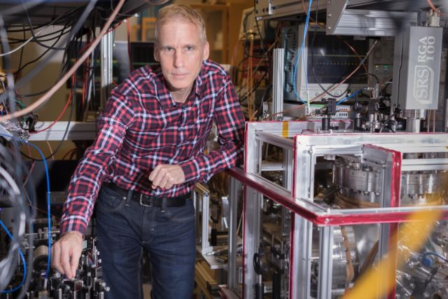 Group leader Eric Hessels in his York University lab.