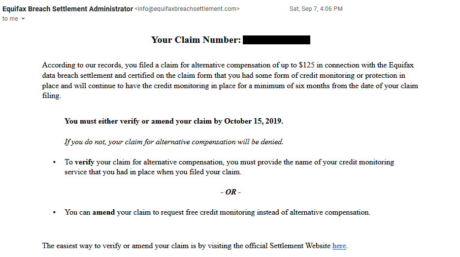 A screenshot of the email sent by the Equifax Breach Settlement administrator to claimants who requested the $125 cash compensation alternative.