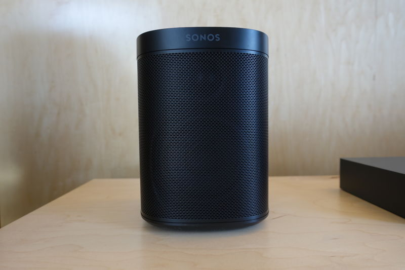 Photograph of cylindrical smart speaker.