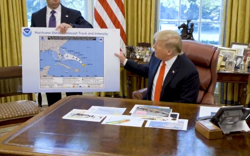 This is a screenshot from a White House briefing on Hurricane Dorian on Wednesday.