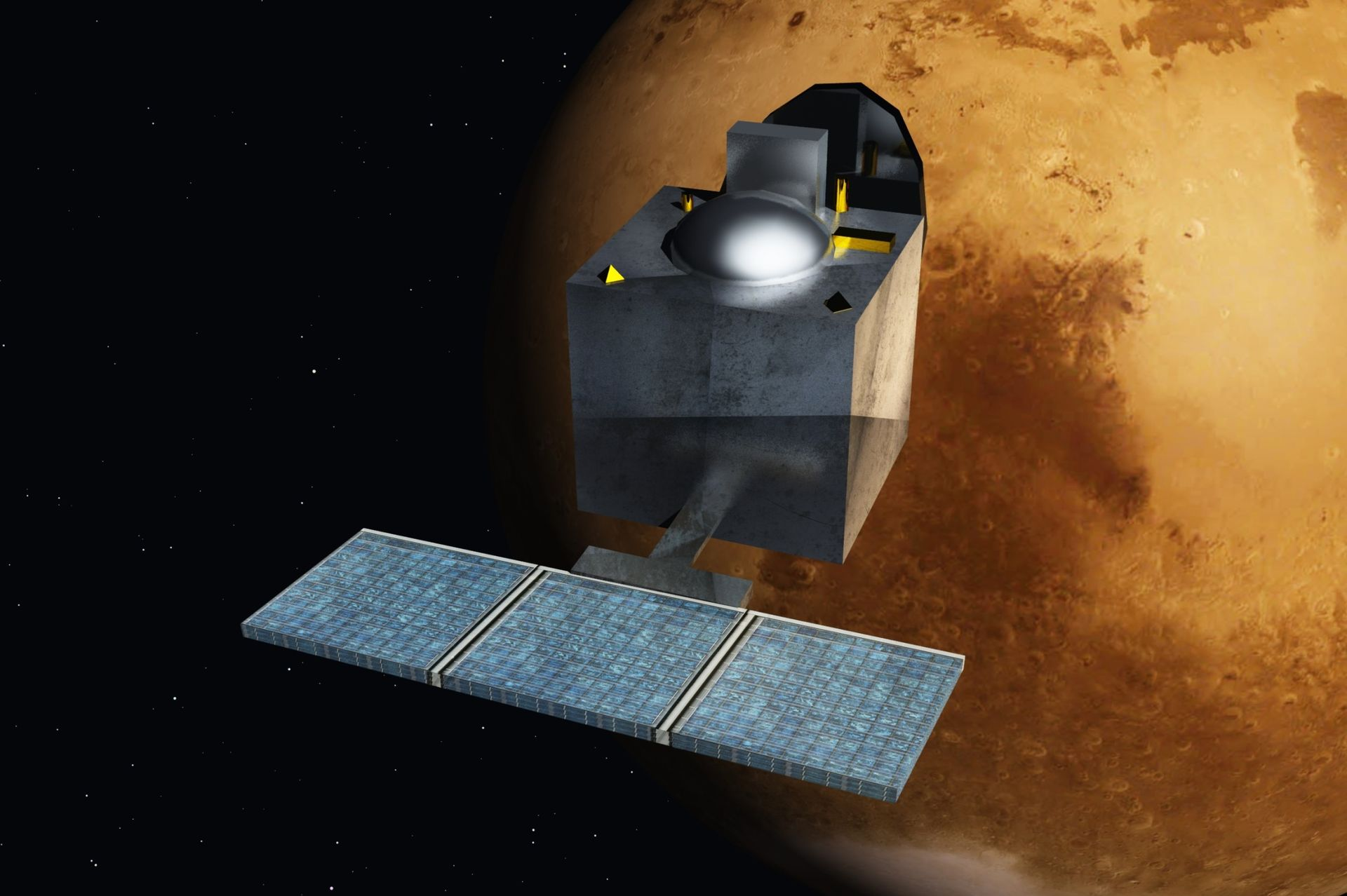 Artist's rendering of the Mars Orbiter Mission spacecraft at the Red Planet.