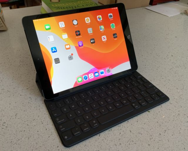 The 10.2-inch iPad with Apple's Smart Keyboard.