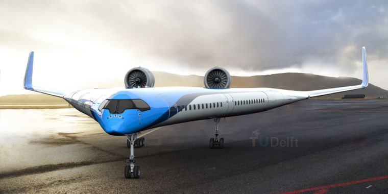 A closer look at the Flying V, a blended-wing passenger airliner concept