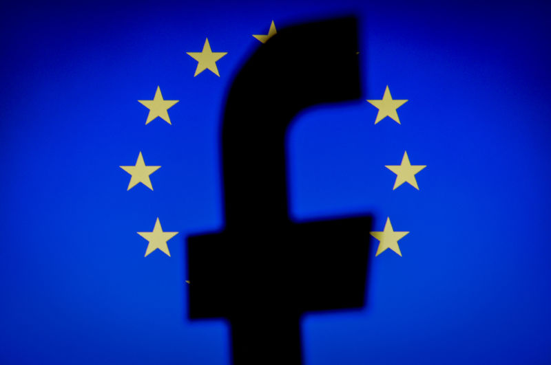 A Facebook logo in front of an EU flag in this photo illustration on November 20, 2017.
