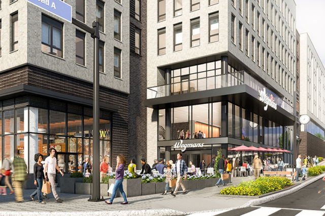 A rendering shows a street scene from the planned Halley Rise development in Reston, Virginia.