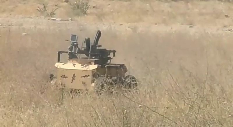 A Heidar-1 UGV gets busy with its assault rifle in a demonstration by the Islamic Republic of Iran Army Ground Forces (NEZAJA).