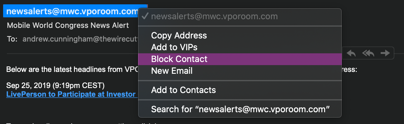 It's now possible to block senders from the Mail app.