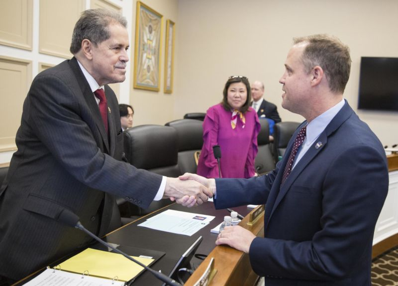 NASA Administrator Jim Bridenstine, right, is seen with Representative José Serrano, D-N.Y., in March, 2019.