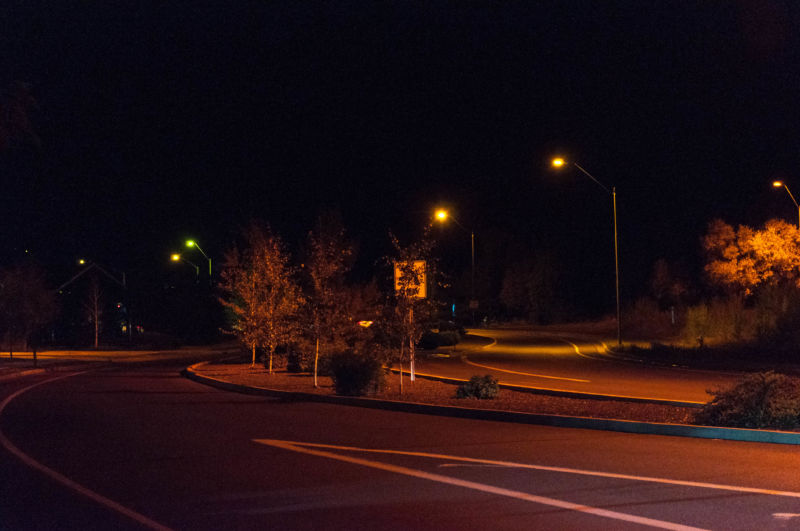 A couple of different types of dark-sky-friendly LED streetlights.