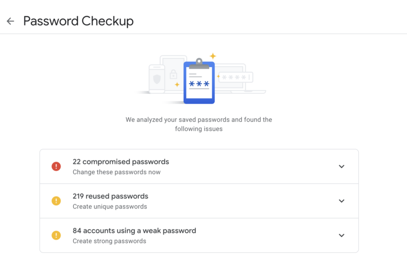 Google adds Password Checkup feature to Google Accounts, Chrome