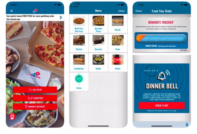 The Domino's mobile app, as previewed in Apple's App Store.