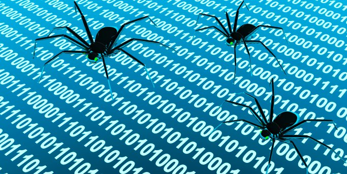 Stylized image of spiders creeping across screen covered with code.
