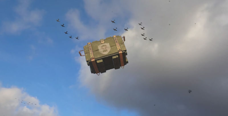 This image of a <em>Call of Duty</em> supply drop falling to the ground can also symbolize the entire concept floating up and out of our lives.