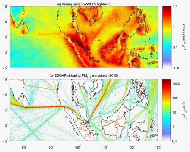 A comparison of lightning strikes between 2005 and 2016 in the eastern Indian Ocean and South China Sea (above) and shipping emissions (below) shows a clear correlation between where humans sail and where lightning hits.