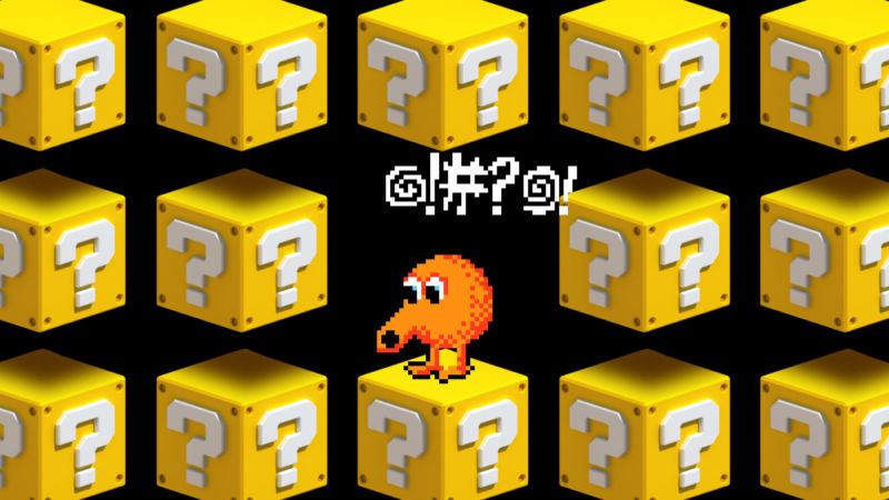 Photoshopped image of Q-Bert video game.