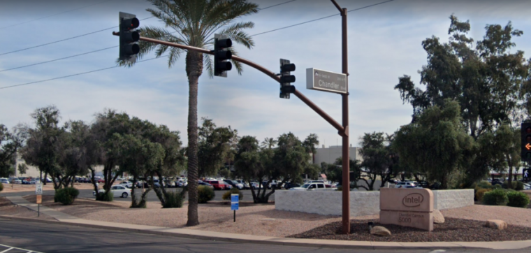 Photograph of street corner in Chandler, Arizona.