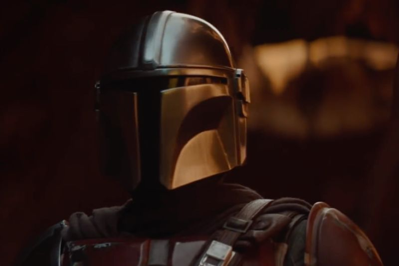 Pedro Pascal stars as the Mandalorian.