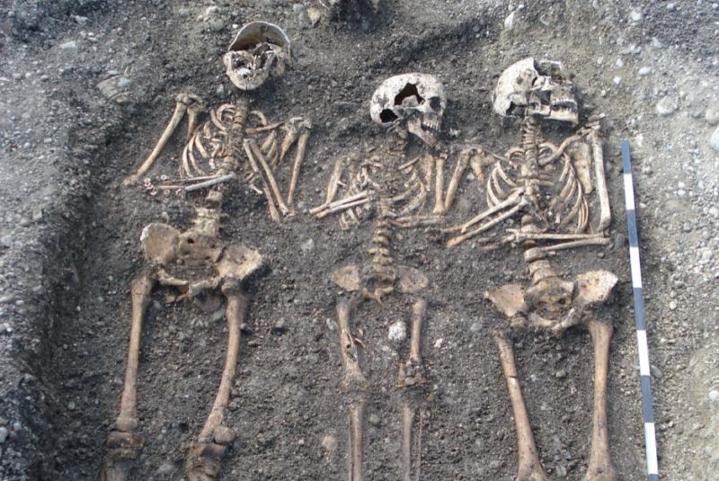 Remains of human plague victims in a mass grave in Toulouse, France, dating back to the Black Death period.