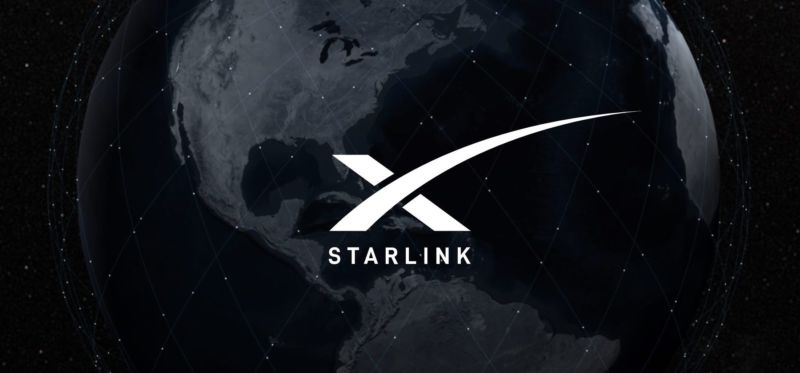 The Starlink logo is placed on a stylized image of the Earth.