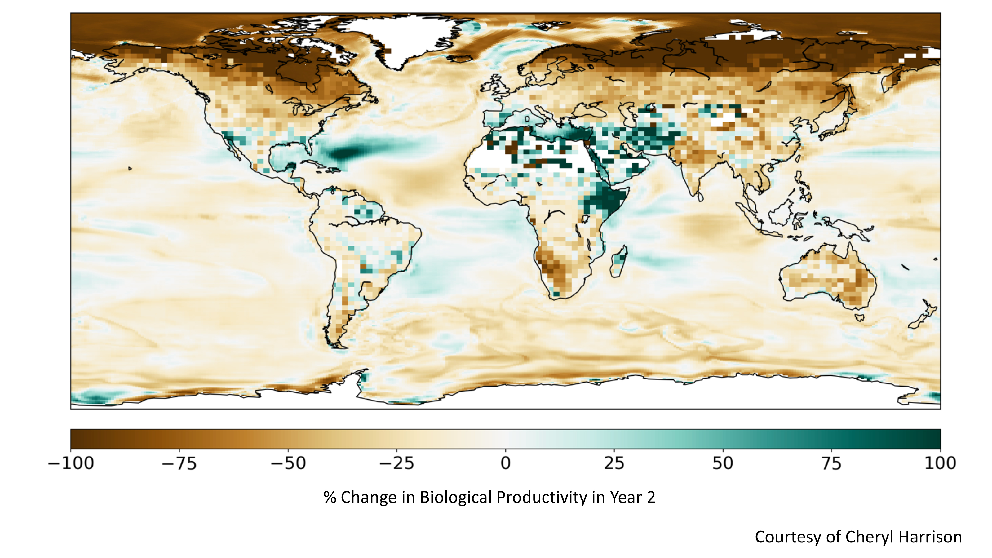 Simulated drop in plant growth due to sunlight, temperature, and precipitation changes.