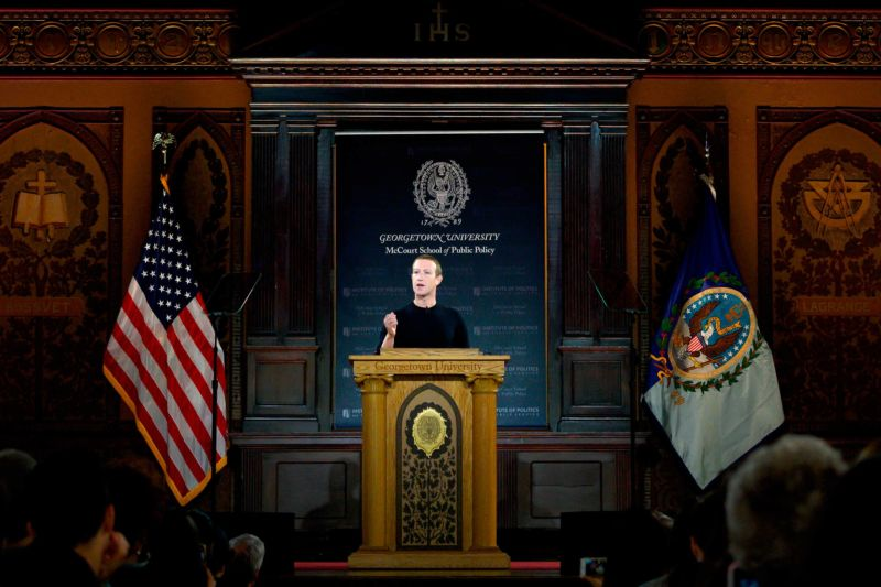 """I'm here today because I believe we must continue to stand for free expression,"" Facebook CEO Mark Zuckerberg told an audience at Georgetown University Thursday."