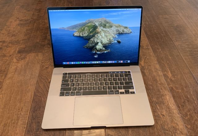 A full view of the reduced bezels and tweaked keyboard on the 16-inch MacBook Pro.