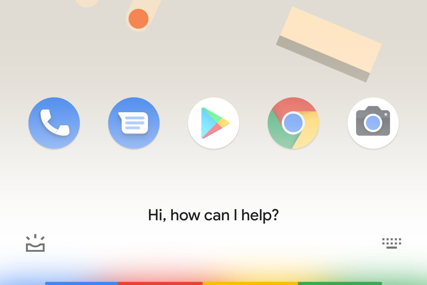 The new Google Assistant interface has colors fade-in from the bottom of the screen.