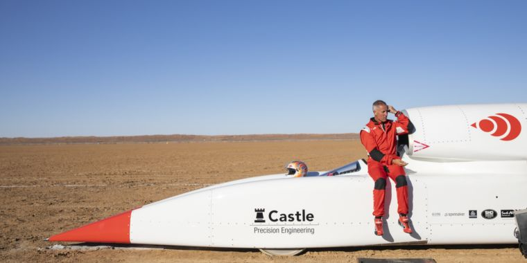 Land-speed car begins testing, beats 500mph with one just engine