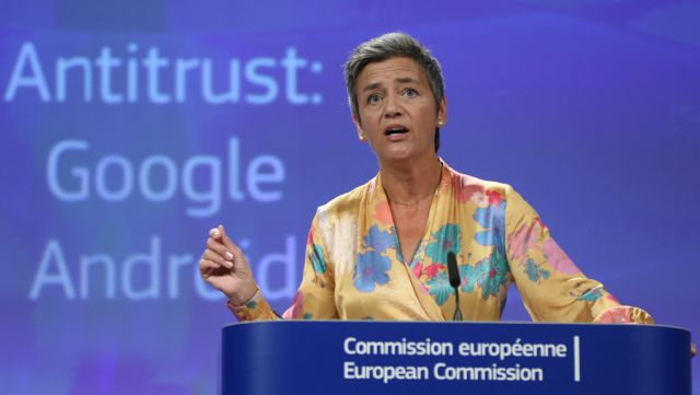 All these Big Tech companies have faced trouble abroad, but can things change here? Just last summer, the EU gave Google 90 days to end 'illegal' practices surrounding its Android operating system or face further fines, after slapping a record 4.34 billion euro ($5 billion) anti-trust penalty on Google. (Pictured: European Union Competition Commissioner Margrethe Vestager.)