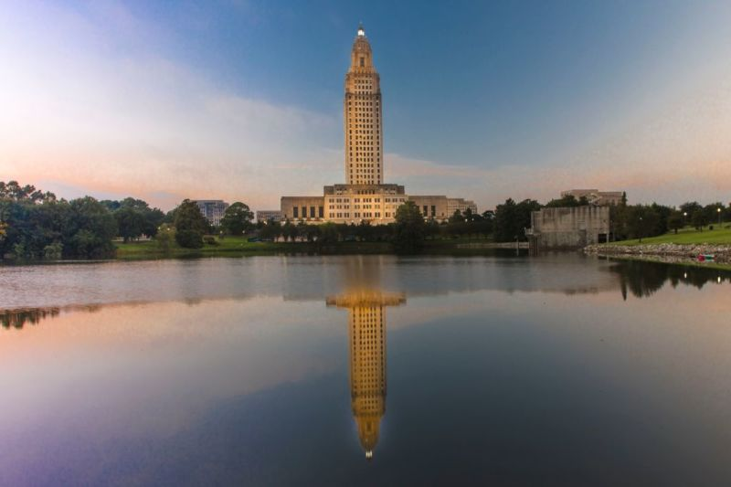 Louisiana State Capitol, Baton Rouge at dusk