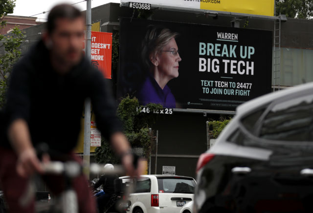 This spring, Elizabeth Warren's campaign posted a billboard in the South of Market Area of San Francisco calling for a break up of Big Tech.