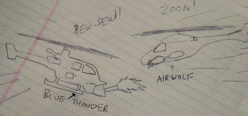 A child or someone with a head injury has drawn Blue Thunder and Airwolf battling on a sheet of notebook paper.