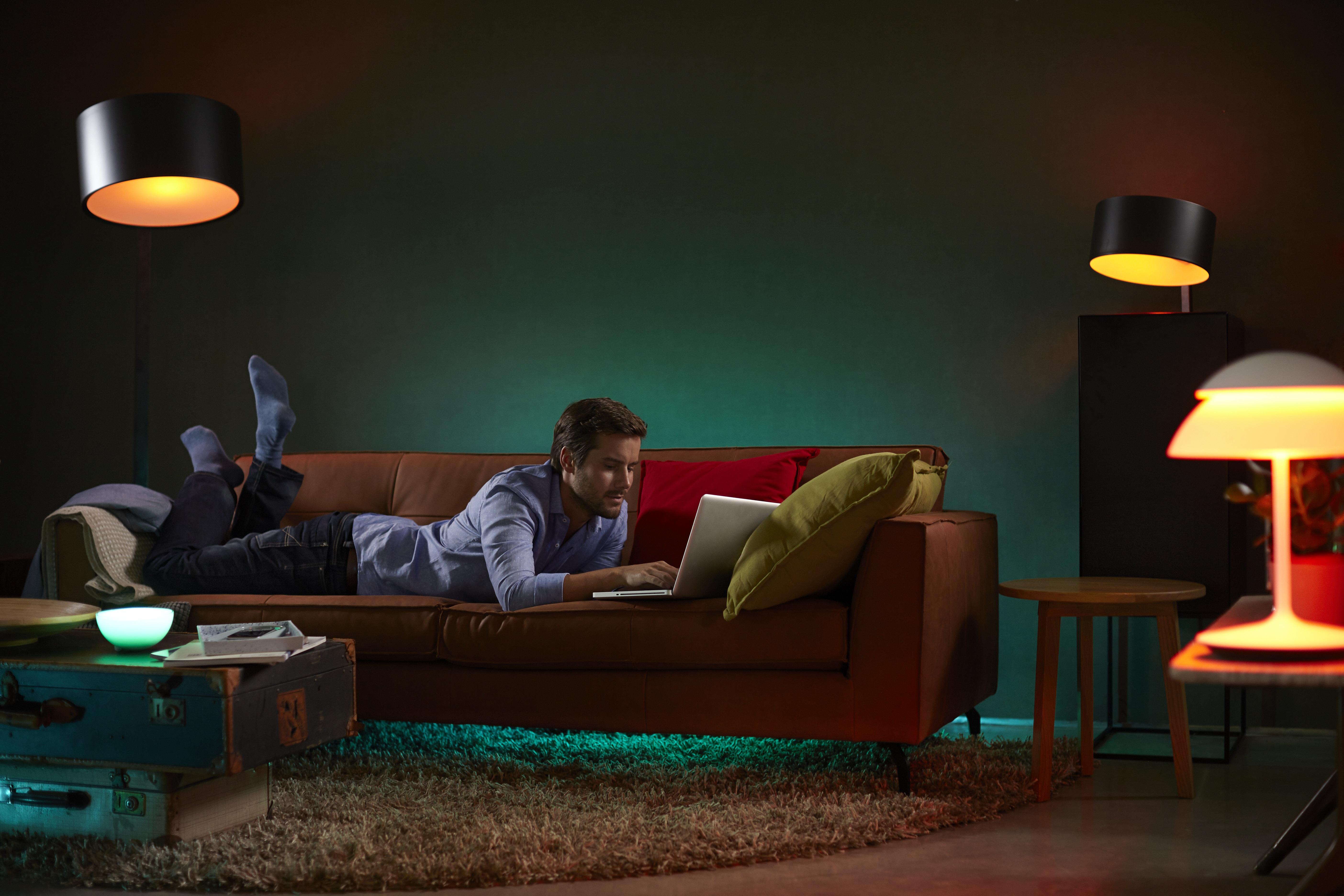 Philips Hue color smart light bulbs.