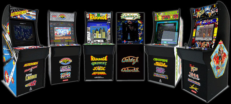 Promotional image of multiple video game cabinets.