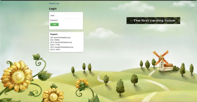 Screenshot of harmless-looking website.