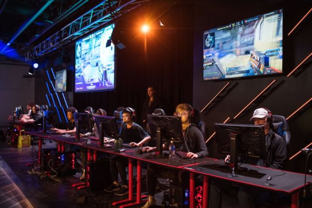 Gamers compete in a Valve Corp. <em>Counter-Strike: Global Offensive</em> esports tournament at the Gaming Stadium in Vancouver, British Columbia, on July 14, 2019.