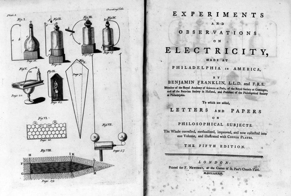 Circa 1750: The title page from the 5th edition of Benjamin Franklin's scientific book<em>Experiments and Observations on Electricity.</em>