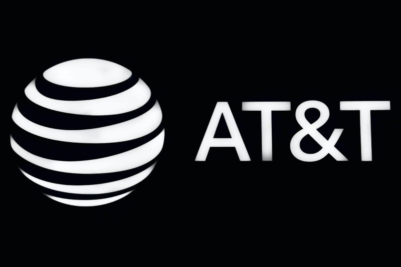 AT&T's name and logo seen at a technology conference.
