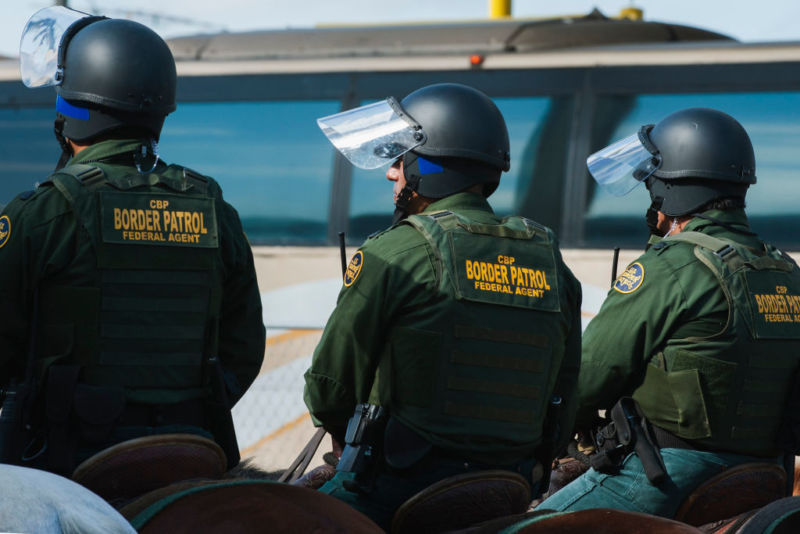 US Customs and Border Protection agents participate in a training exercise at the border with Mexico.