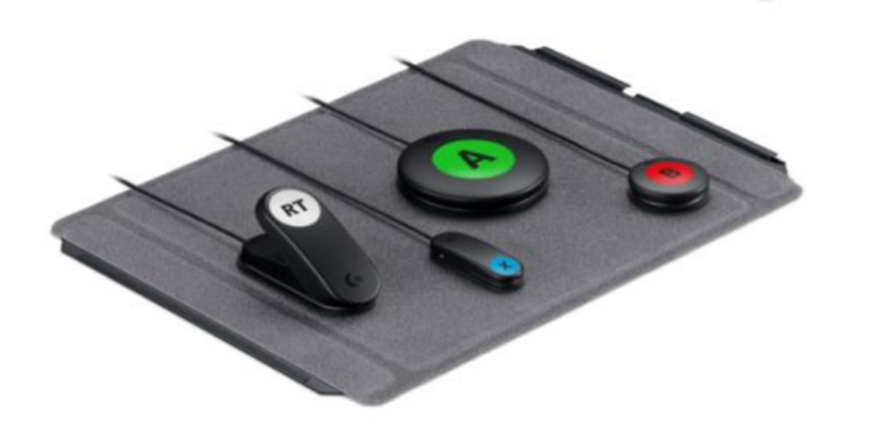 "The four button types included in the 12-button Logitech Adaptive Gaming Kit bundle, along with one of its two ""hook-and-loop"" mounting boards."